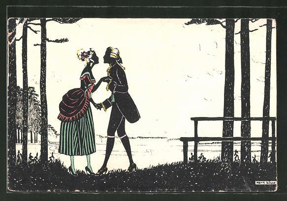 Künstler-AK Manni Grosze: Liebespaar küsst sich an einem Ufer