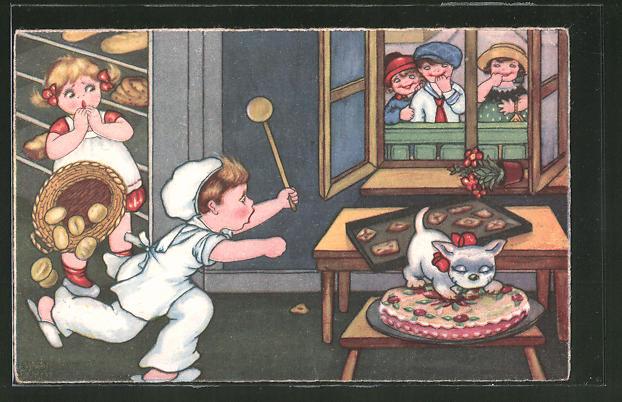 AK Bäcker rennt zu seiner Katze die seinen Kuchen frisst