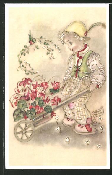 Künstler-AK sign. Erha Maison: Junge schiebt einen Wagen mit Blumen