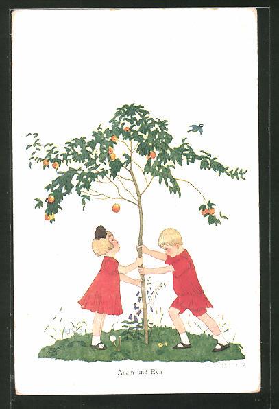 Künstler-AK Helmut Skarbina: Adam und Eva schütteln den Apfelbaum
