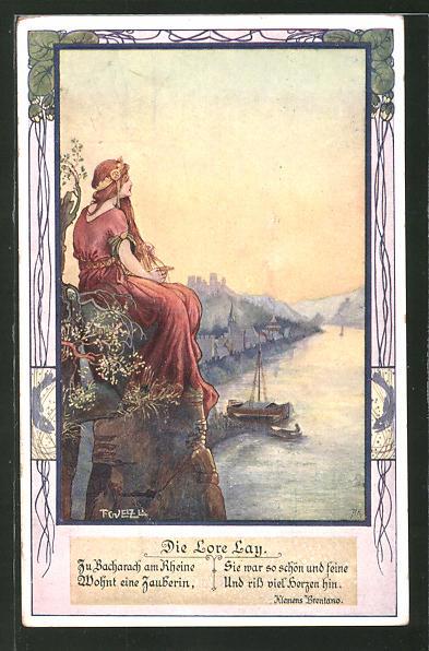 Künstler-AK T. Welzl: Lorelay sitzt auf ihrem Felsen