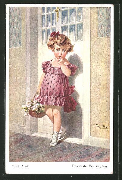 Künstler-AK Adolf (Jodolfi): Kleines Mädchen steht vor einer Tür und hält einen Korb mit Blumen