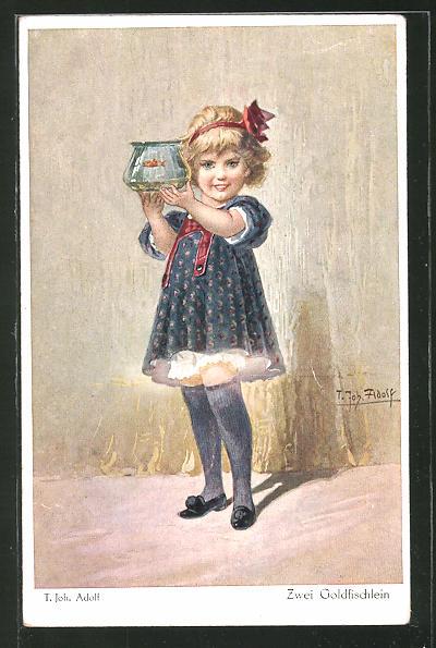 Künstler-AK Adolf (Jodolfi): Kleines Mädchen hält ein Becken mit einem Fisch