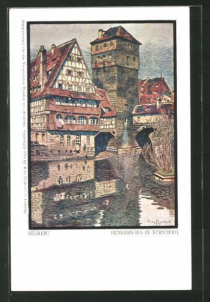 Künstler-AK Fritz Beckert: Nürnberg, Partie am Henkersteg