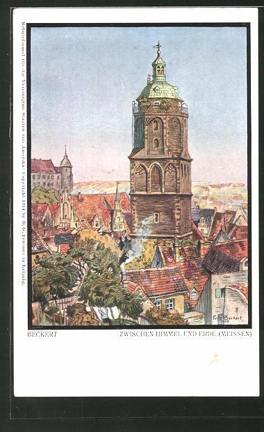 Künstler-AK Fritz Beckert: Meissen, Ortspartie aus der Vogelschau