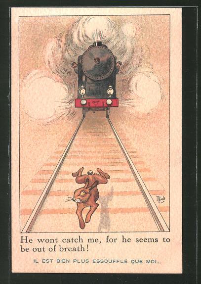Künstler-AK sign. Mich: Hase rennt vor einem Zug weg
