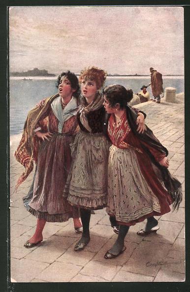 Künstler-AK sign. L. Passin: Drei Frauen in Tracht laufen am Hafen