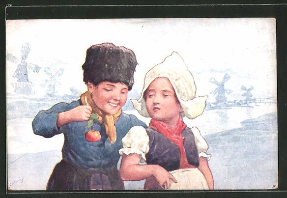 Künstler-AK Karl Feiertag: kleines niederländisches Paar