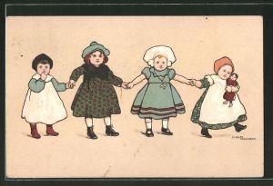 Künstler-AK Ethel Parkinson: kleine Mädchen Hand in Hand