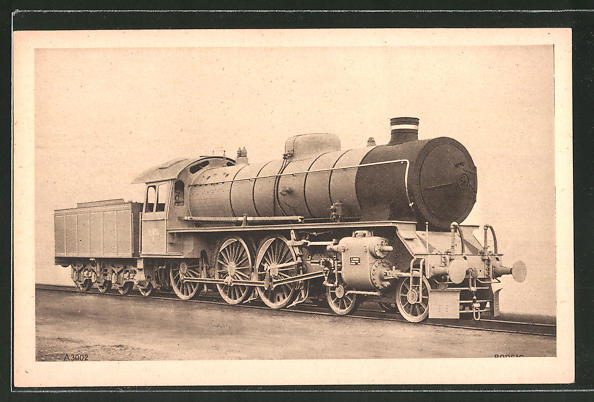AK A. Borsig, Berlin-Tegel, 2 C-Drillings-Heissdampf-Schnellzug-Lok, Dänische Staatsbahn