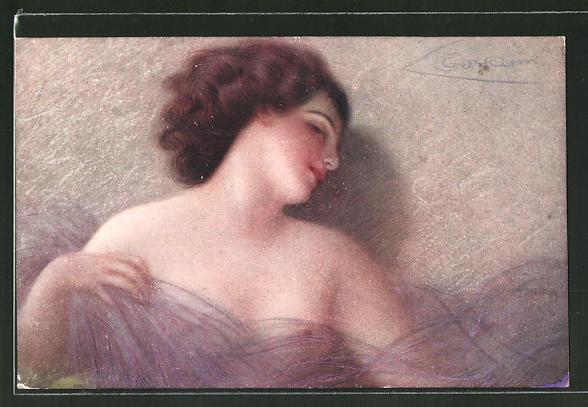 Künstler-AK G. Guerzoni: leicht bekleidete junge Dame