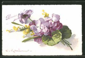 Künstler-AK Catharina Klein: Violette und gelbe Blumen