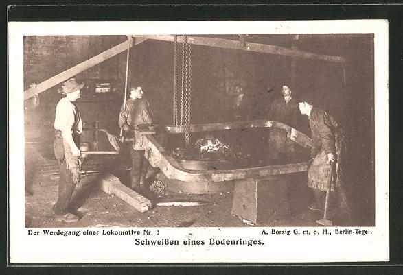AK A. Borsig, Berlin-Tegel, Werdegang einer Lokomotive, Schweissen eines Bodenringes
