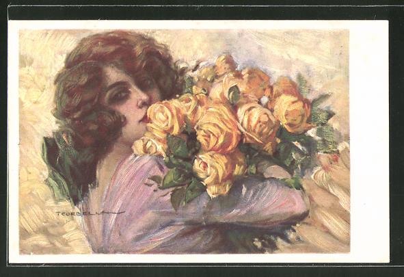 Künstler-AK Tito Corbella: Mädchen mit gelben Rosen