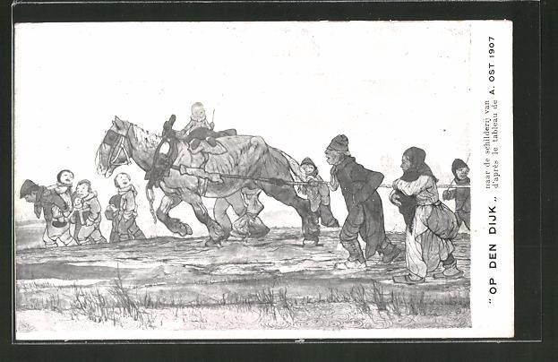 Künstler-AK A. Ost: Mechelen Belgie, Op den Dijk, Belgier mit Arbeitspferd