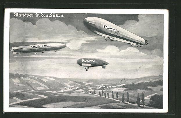 AK Manöver in den Lüften, Luftschiff Schütte-Lanz, Zeppelin und Parseval