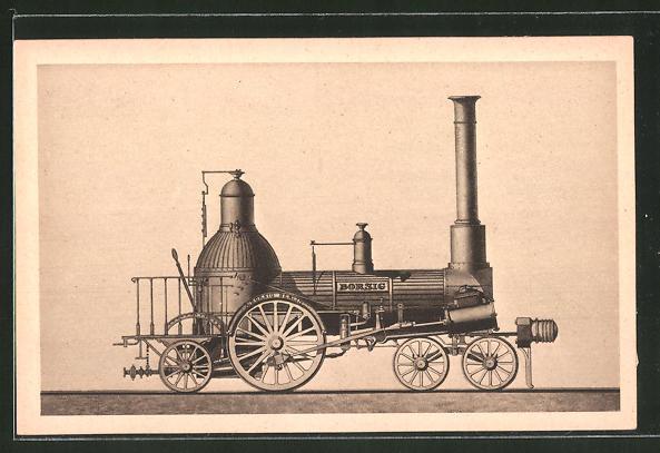 AK A. Borsig, Berlin-Tegel, 2 A 1-Lokomotive, Berlin-Anhaltinische Eisenbahn, 1841