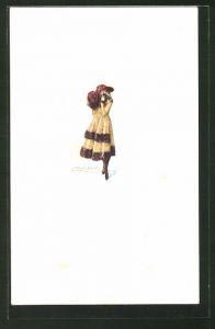 Künstler-AK Mauzan: Mädchen in Winterkleidung mit Hut und Muff