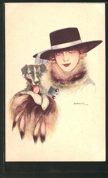 Künstler-AK Nanni: Dame mit Hut und Hund