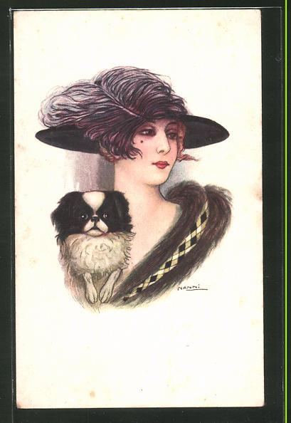 Künstler-AK Nanni: Dame mit Hut und Pekinese