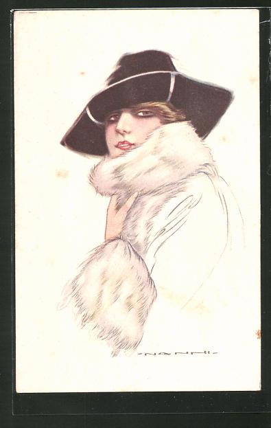 Künstler-AK Nanni: junge Dame in Pelzkleidung mit Hut