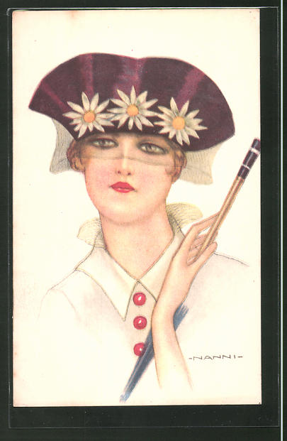 Künstler-AK Nanni: junge Dame mit Hut mit Schleier