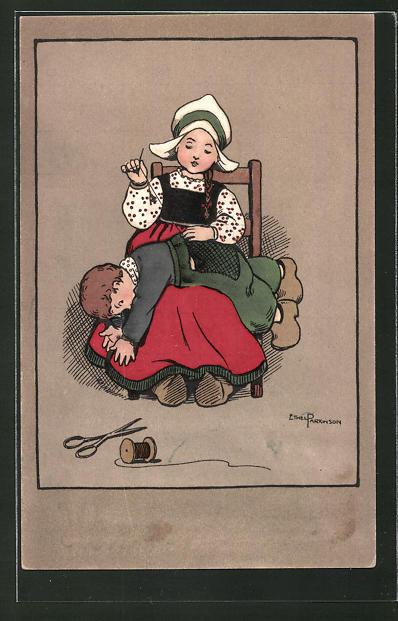 Künstler-AK Ethel Parkinson: Mädchen näht Hosenboden eines Knaben