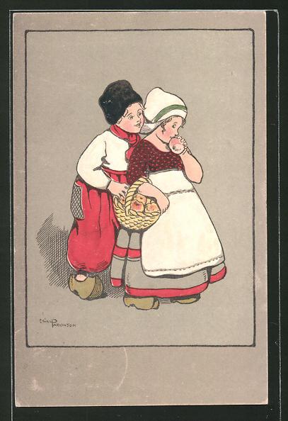 Künstler-AK Ethel Parkinson: kleines niederländisches Paar mit Äpfeln