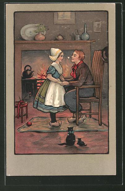Künstler-AK Ethel Parkinson: junges Paar vor Kamin
