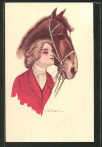 Künstler-AK elegante junge Reiterin und Pferd