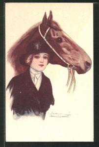 Künstler-AK bezaubernde Reiterin in Schwarz und Pferd