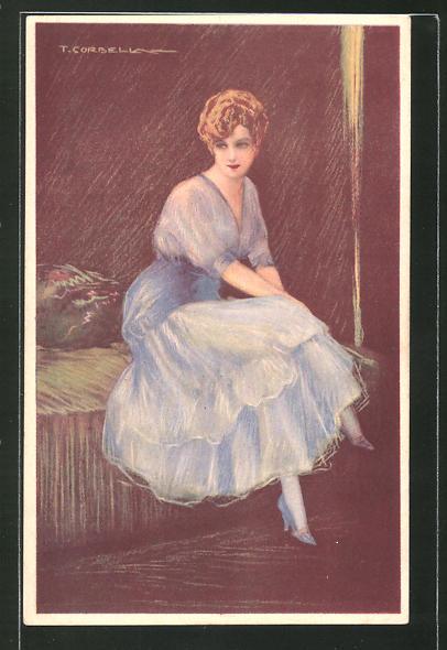 Künstler-AK Tito Corbella: Fräulein mit blauem Kleid