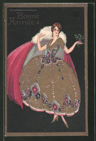 Künstler-AK Tito Corbella: Bonne Année, bezaubernde Junge Dame in modischem Kleid