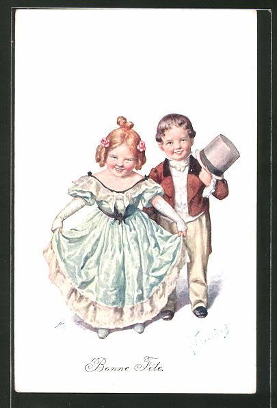 Künstler-AK Karl Feiertag: Bonne Fête, kleines Paar in histor. Mode