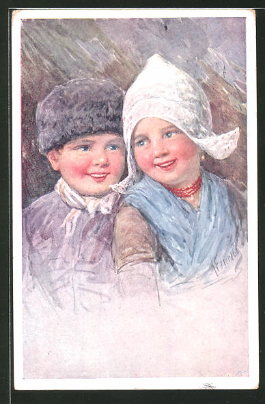 Künstler-AK Karl Feiertag: kleines niederl. Paar in Tracht