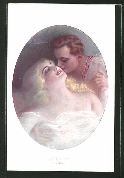 Künstler-AK G. Guerzoni: Der Kuss, Liebespaar