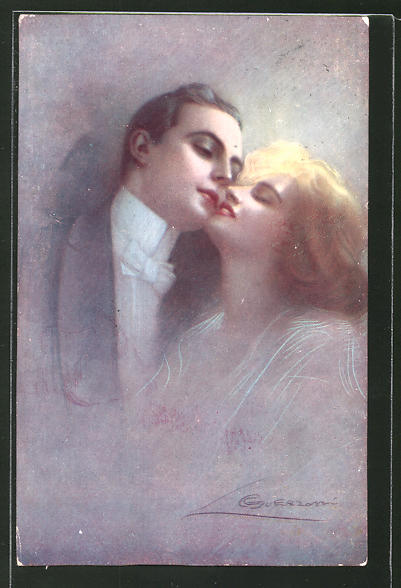 Künstler-AK G. Guerzoni: blonde Dame und dunkelhaariger Kavalier