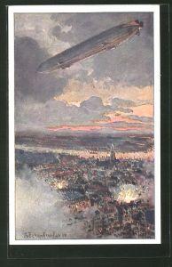 Künstler-AK Deutscher Luftflotten-Verein, Zeppelin über Antwerpen