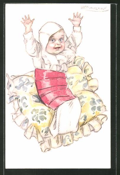 Künstler-AK Mauzan: Säugling mit erhobenen Armen