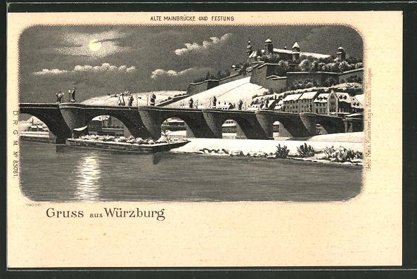 Winter-Lithographie Würzburg, Alte Mainbrücke und Festung im Mondschein