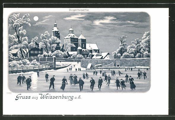 Winter-Lithographie Weissenburg, Ellingerthorpartie im Mondschein, Schlittschuhläufer