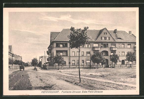 AK Hennigsdorf, Fontane-Strasse Ecke Feldstrasse