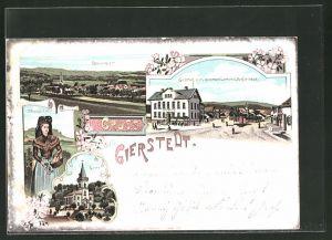 Lithographie Gierstädt, Gasthof zum goldenen Lamm und Dorfstrasse