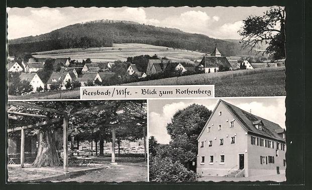 AK Kersbach, Panorama mit Rothenberg, Gasthaus zur Linde und Garten