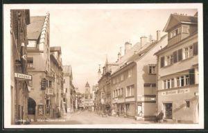 AK Lindau, Maximilanstrasse mit Weinhaus Frey