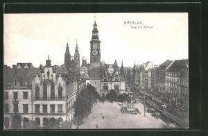 AK Breslau, Ring mit Rathaus aus der Vogelschau