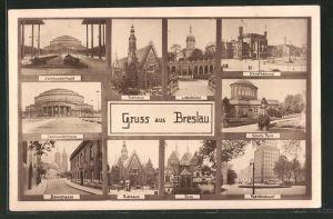 AK Breslau, Jahrhunderthalle, Rathaus, Domstrasse, Hauptbahnhof