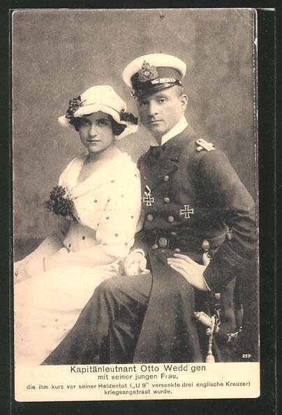 AK Kapitänleutnant Weddigen mit Gemahlin, Kommandant von U 9