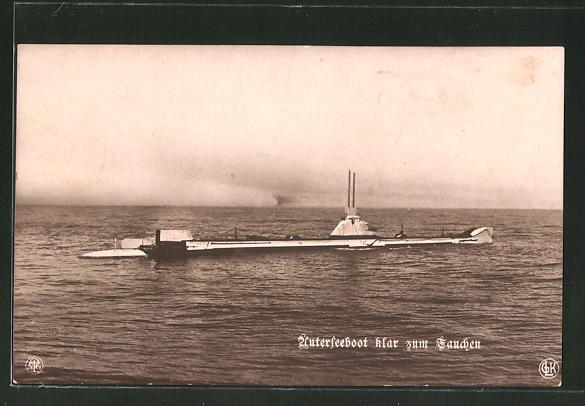 AK Unterseeboot klar zum Tauchen