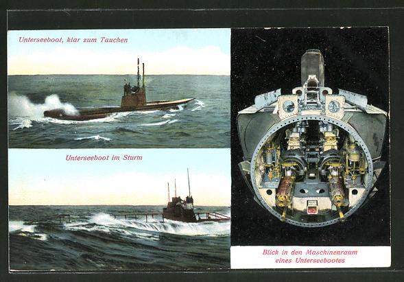 AK Unterseeboot klar zum Tauchen, U-Boot im Sturm, Blick in Maschinenraum